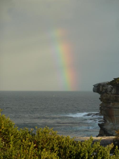 Rainbow beyond Boora Point, late autumn afternoon