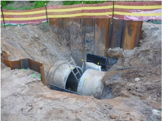 Randwick Council's stormwater pipe crosses the path of the leachate capture trench and drain, adding to the compleity of the project